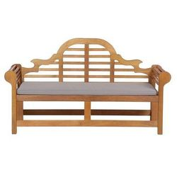 Ławka ogrodowa drewniana 180 cm poducha szaro-beżowa JAVA Marlboro
