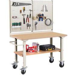 Mobilny stół warsztatowy ROBUST, z wyposażeniem,1500x800 mm, płyta utwardzana, 25982