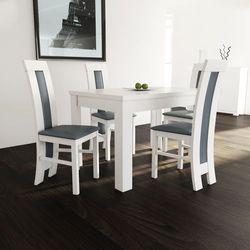 Biały zestaw Stół S-44 80/120 do 165 PLUS 4 krzesła K-60 - produkt z kategorii- Zestawy mebli kuchennych