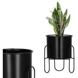Springos Stojak na kwiaty 18 cm z doniczką nowoczesny kwietnik loft czarny mat (5907719419015)