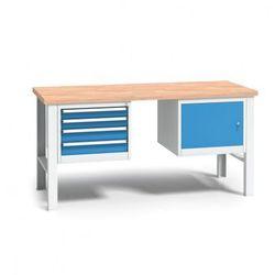 B2b partner Profesjonalny stół warsztatowy z drewnianym blatem roboczym