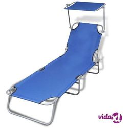 składany leżak z zadaszeniem, stal i tkanina, niebieski marki Vidaxl