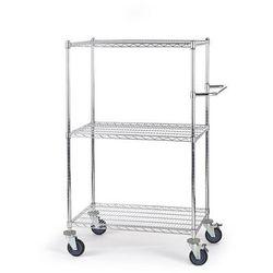 Wózek stołowy z kratą drucianą, z półkami, dł. x szer. x wys. 910x610x1350 mm, 3 marki Seco
