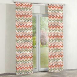 Dekoria zasłony panelowe 2 szt., zygzaki terrakota z oliwką na białym tle, 60 x 260 cm, acapulco