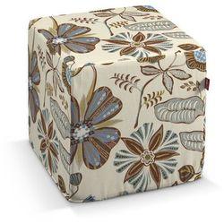 pufa kostka twarda, brązowo-niebieskie kwiaty na kremowym tle, 40x40x40 cm, etna marki Dekoria