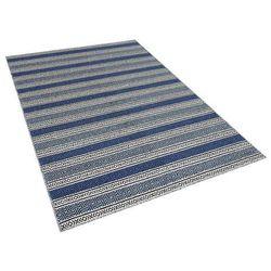 Beliani Dywan niebiesko-szary - 160x230 cm - wełna - chodnik - kilim - patnos (4260580921645)