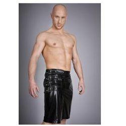 Noir handmade - spódnica midi wetlook na metalowe zapięcia h001, rozmiar - l, marki Noir handmade (ge)