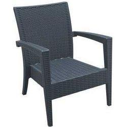 Fotel ogrodowy na taras z polyrattanu Miami szary z kategorii Krzesła ogrodowe