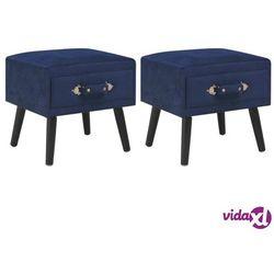vidaXL Szafki nocne, 2 szt., niebieskie, 40x35x40 cm, aksamitne (8719883606750)