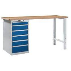 Lista Stół roboczy kompletny, blat roboczy z multipleksu bukowego,wys. 1040 mm, szafka dolna, 6 szuflady