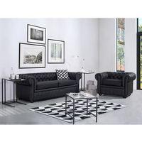 Sofa kanapa skórzana czarna klasyka dom biuro chesterfield marki Beliani