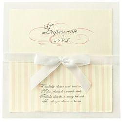 Zaproszenia ślubne z kokardą, biały, 1op.