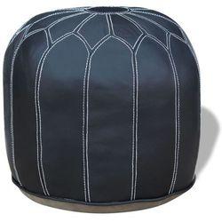 okrągły, skórzany puf, szary 48x48x38 cm marki Vidaxl