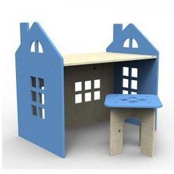 Drewniane biurko niebieskie od producenta Planeco