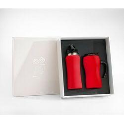 Zestaw fluo bidon 600 ml + kubek termiczny z rączką 450 ml gumowany (czerwony) marki Colorissimo®