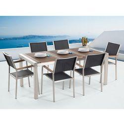 Meble ogrodowe - tarasowe - stół drewniany 180 cm z sześcioma czarnymi krzesłami - grosseto marki Beliani