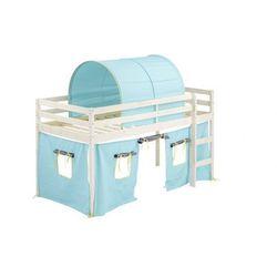Vente-unique Łóżko na podwyższeniu lilio z niebieskim zasłonkami i namiotem - 90 × 190 cm - lite drewno sosnowe - bielone