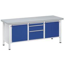Stół warsztatowy, stabilny, 2 drzwi 540 mm, 3 szuflady, okładzina z blachy stalo