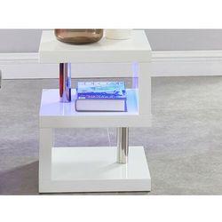 Stolik nocny LYLIA - MDF lakierowane na biało - Diody LED - Kolor biały