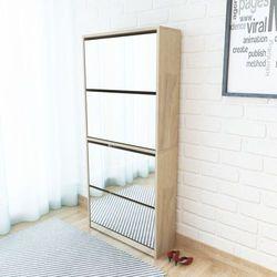 vidaXL Szafka na buty z 4 półkami lustrem w kolorze dąb 63x17x134 cm