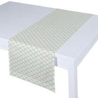 bieżnik prostokątny, szaro-miętowe fale na białym tle, 40x130 cm, geometric marki Dekoria