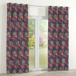 Dekoria zasłona na kółkach 1 szt., czerwone kwiaty na czarnym tle, 1szt 130x260 cm, new art