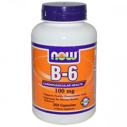 Now Foods, Witamina B-6, 100 mg, 250 kapsułek
