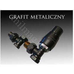 Zestaw zaworów grzejnikowych termostatycznych elegant kątowy grafit, marki Mera term