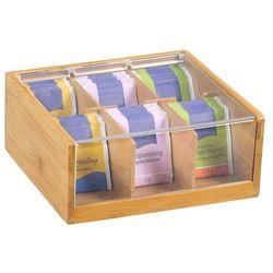 Kesper Skrzynka na herbatę z bambusa, pojemnik do kuchni, pojemnik z pokrywką, pudełko na herbatę, pojemni