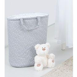 dwustronny kosz na zabawki mini gwiazdki białe na szarym / mini gwiazdki szare na bieli marki Mamo-tato