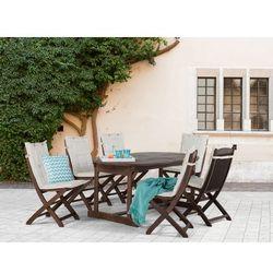 Meble ogrodowe - ogród - stół + 6 krzeseł + 6 beżowych poduszek - MAUI, kup u jednego z partnerów