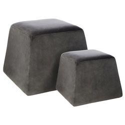 2x pufa siedzisko w kolorze szarym, komplet dwóch puf, pufa do salonu, duża pufa i pufka, pufa tapicerowana, pufa fotel, meble do salonu marki Atmosphera créateur d'intérieur