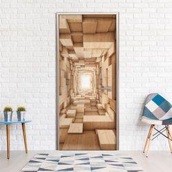 Fototapeta na drzwi - drewniany tunel marki Artgeist