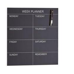 Szklany planer tygodniowy peggy, 450x450 mm, czarny marki Aj produkty