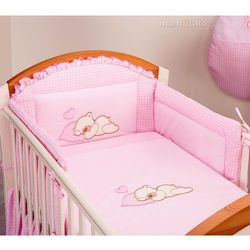 MAMO-TATO pościel 3-el Śpiący miś w różu do łóżeczka 70x140cm, kup u jednego z partnerów