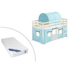 Łóżko na podwyższeniu LILIO - 90 × 190 cm - Lite drewno sosnowe - Bielone - Niebieskie dodatki + materac ZEUS 90 × 190 cm