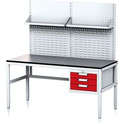 B2b partner Stół warsztatowy mechanic ii z panelem perforowanym i półkami, 1600 x 700 x 745-985 mm, 3 kontenery szufladowe, szary/czerwony