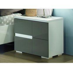 Stolik nocny prawostronny GUILHEM - 2 szuflady - Lakierowane na szaro i biało