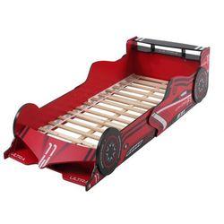 Vente-unique Łóżko samochód formule 1 - 90 × 190 cm - mdf czerwony - diody led