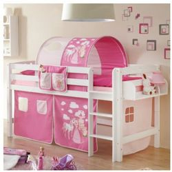 Ticaa łóżko pietrowe timmy buk, biały - konik rose/pink marki Ticaa kindermöbel
