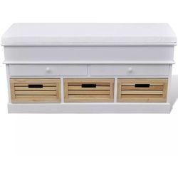 Ławka do przedpokoju z poduszką szufladami oraz drewnianymi skrzyniami marki Vidaxl
