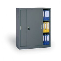 B2b partner Metalowa szafa z przesuwnymi drzwiami, 1200x1200x450 mm, antracit