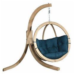 Fotel wiszący drewniany ze stojakiem - Bubble Wood Sea Green