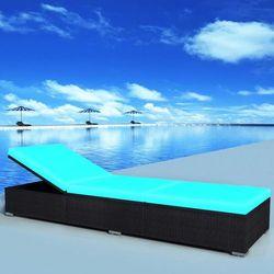 leżak z poduszką, 195 x 60 31 cm, polirattan, niebieski marki Vidaxl