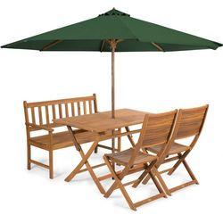 Fieldmann meble ogrodowe emily 4l + parasol zielony