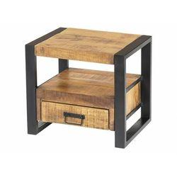 Stolik nocny HARLEM – 1 szuflada i 1 wnęka – drewno mango i metal