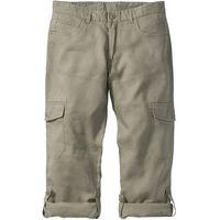 Spodnie lniane bojówki z wywijanymi nogawkami Regular Fit bonprix khaki, kolor zielony