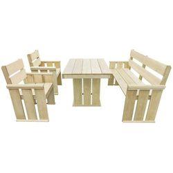 Zestaw mebli ogrodowych, 4 części, impregnowane drewno sosnowe