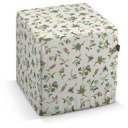 pufa kostka twarda, małe kwiaty na jasnym tle, 40x40x40 cm, londres marki Dekoria