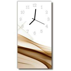 Zegar Szklany Pionowy Sztuka Abstrakcja linie beżowy, kolor beżowy